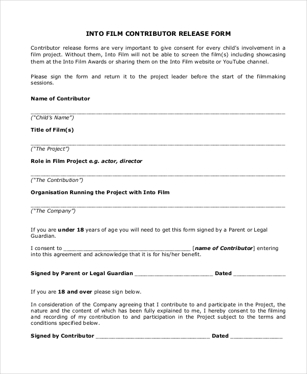 51 Sample Release Forms