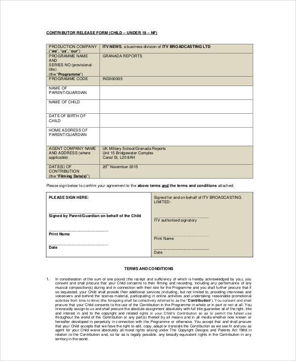 child contributor release form