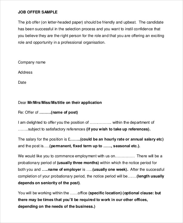 Sample Job Appointment Letter   Examples In Word Pdf