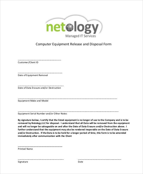 computer equipment release form