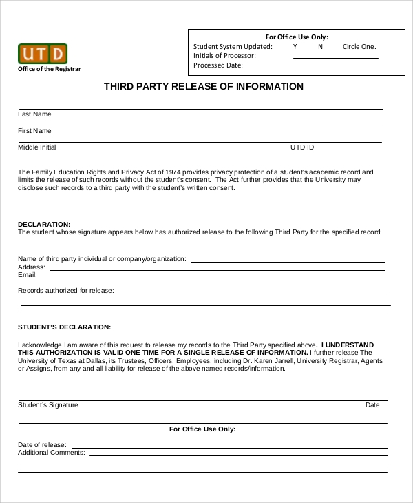 Release Of Information Forms Legal General Release Form Sample