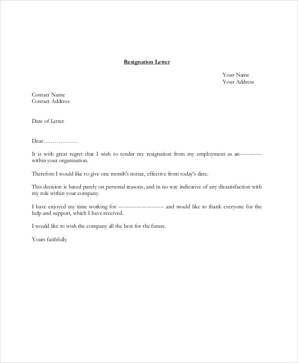 sample resignation letter 8 examples in pdf