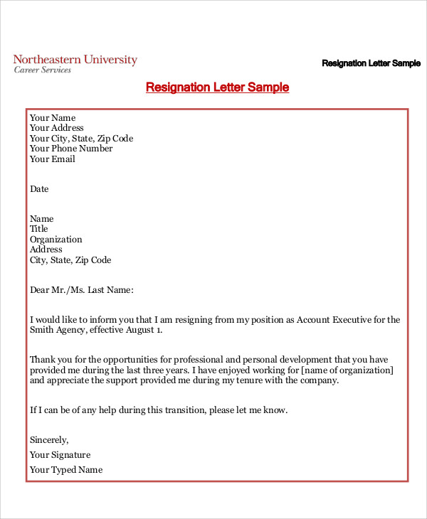 8 sample resignation letters in pdf sample templates