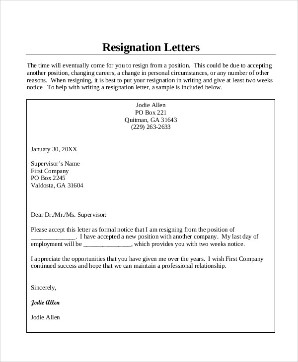 short resignation letter 10 sample resignation letters in pdf 12448 | Formal Notice Resignation Letter