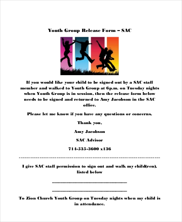 youth group release form