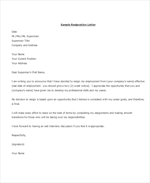 10  sample resignation letters in pdf