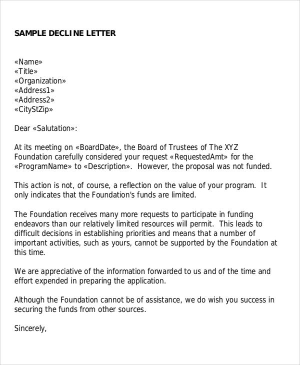 Sample Proposal Rejection Letter   6+ Examples in Word, PDF