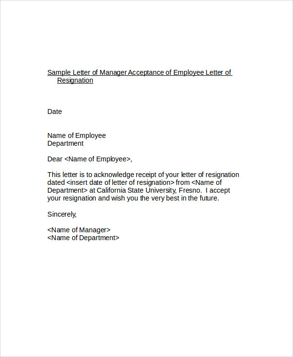 employee resignation acceptance letter