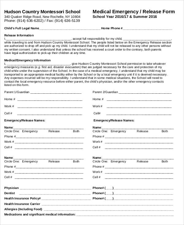 medical emergency release form