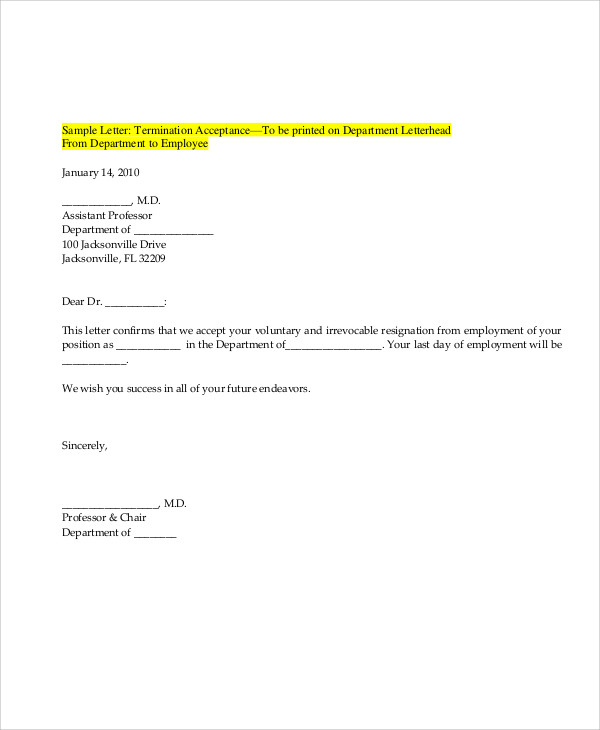 Sample Resignation Acceptance Letter 7 Examples in PDF Word – Letter Format of Resignation