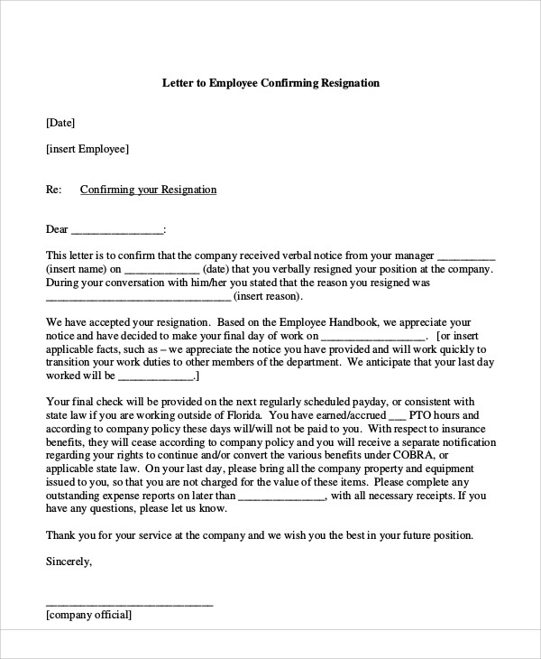 Sample Resignation Acceptance Letter   Examples In Pdf Word