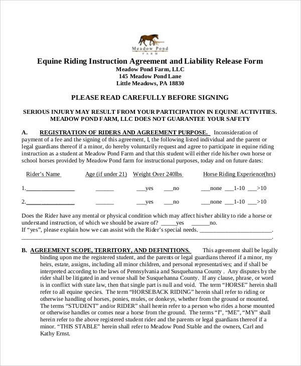 51 Sample Release Forms – Equine Release Form