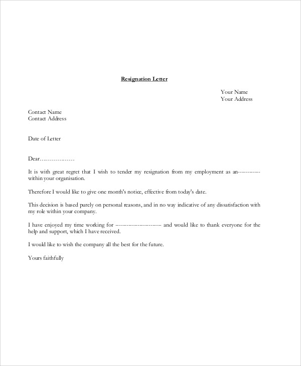 7  sample company resignation letters