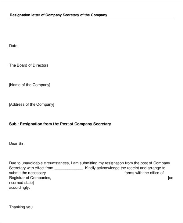 Sample Company Resignation Letter 8 Examples in PDF Word – Secretary Resignation Letter