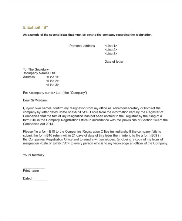 7 sample company resignation letters pdf word sample templates