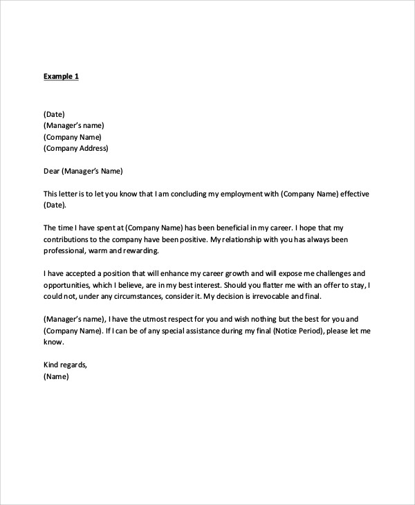 Sample Manager Resignation Letter  Examples In Pdf Word