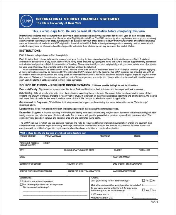 student financial statement