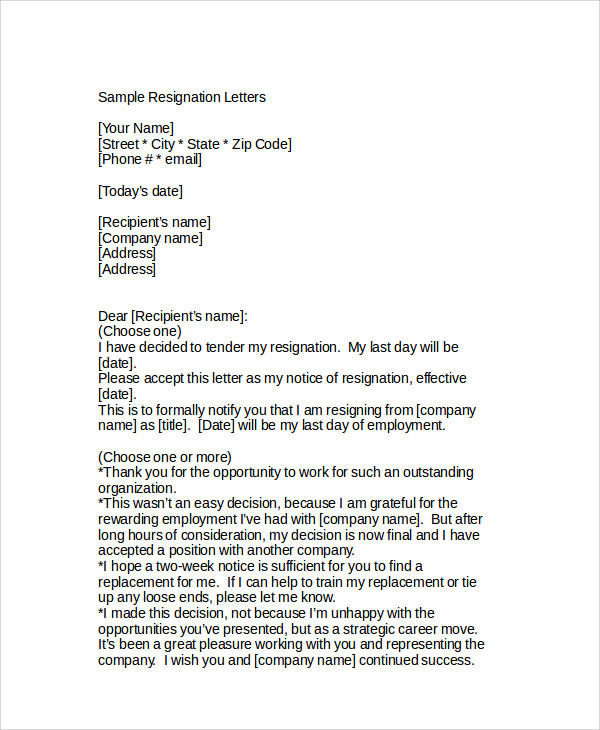 Sample Resignation Letter - 6+ Examples In Word