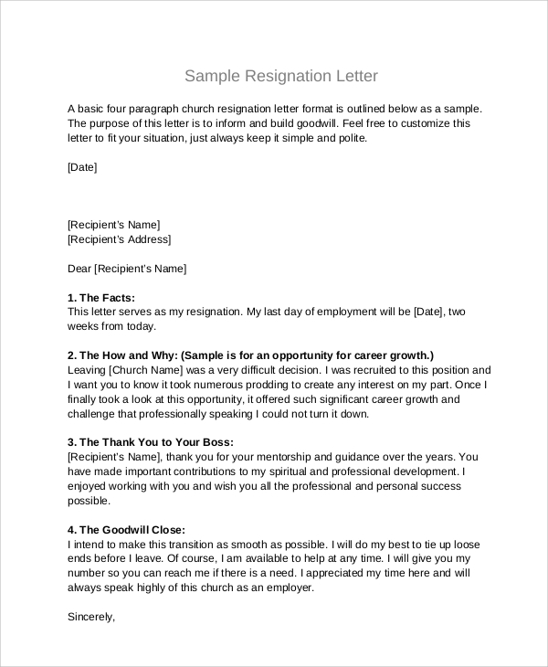 church board resignation letter format - Board Member Resignation Letter Sample