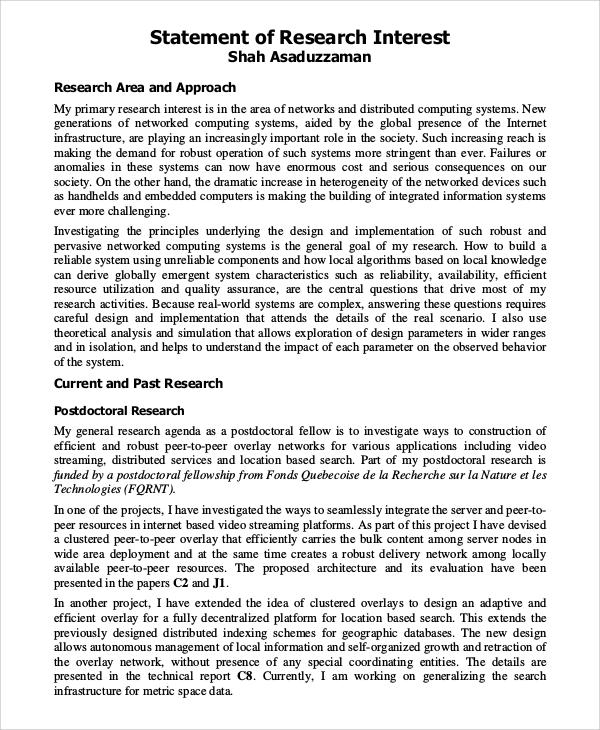 Statement Of Interest Statement Of Research Interests Bell Raj