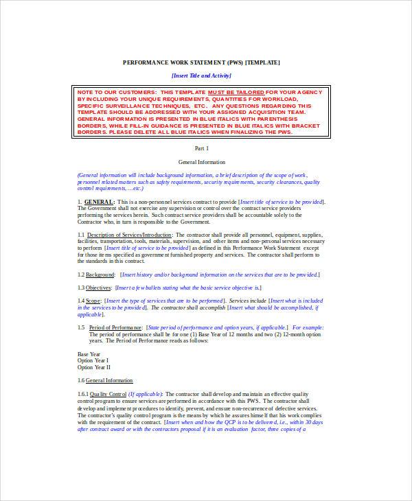 army performance work statement