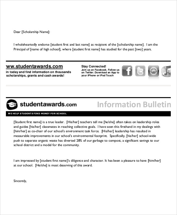 Sample Reference Letter For Scholarship - 4+ Examples In Pdf, Word