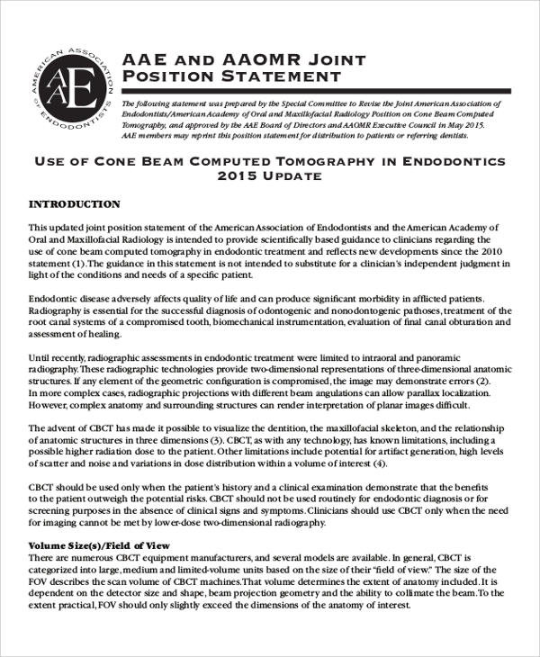 joint positioning statement