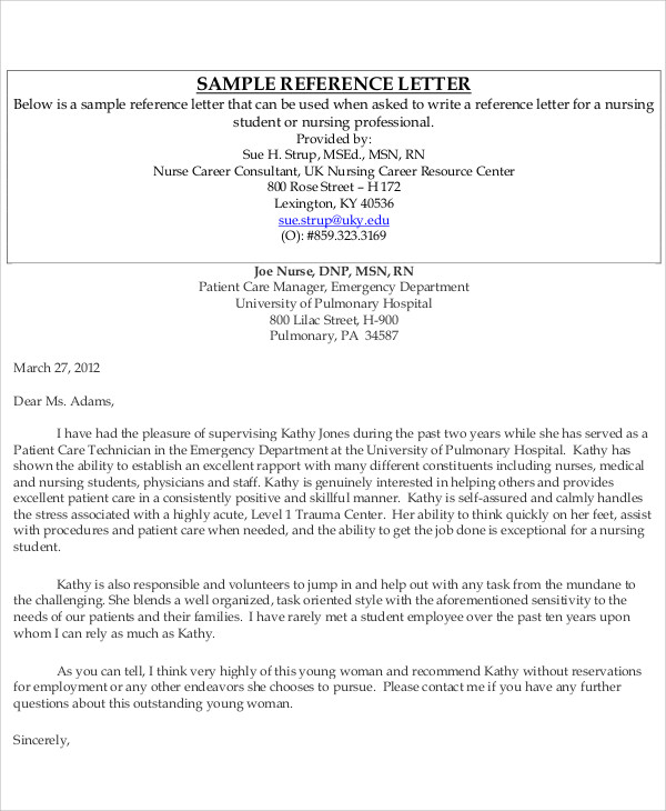 reference letter for coworker nurse