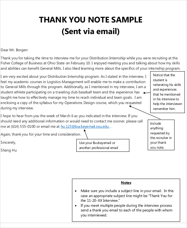 Sample Business ThankYou Note   Examples In Word Pdf