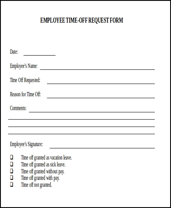 Time Off Request Forms  Leave Form For Vacation  Resumes Great