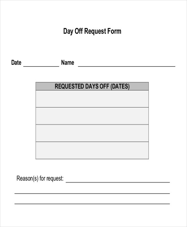 Sample Day Off Request Form 7 Examples in Word PDF – Request off Form