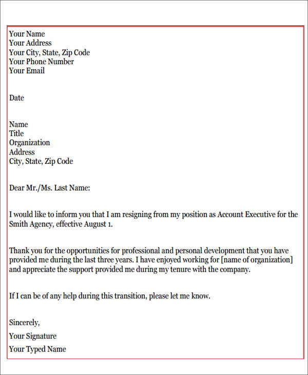 Sample Resignation Letter With Reason   Examples In Pdf Word
