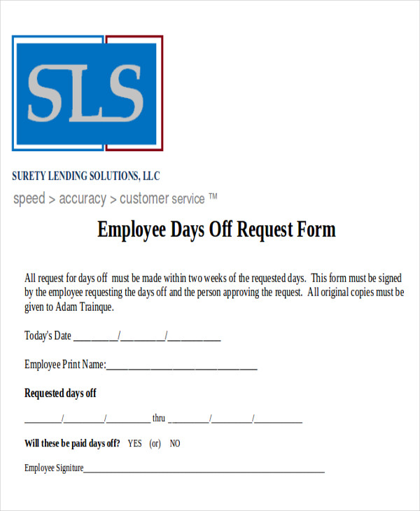 printable day off request form