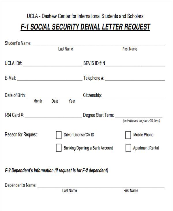 social security denial letter request form 9 sample social security request forms sample templates 12708 | Social Security Denial Letter Request Form