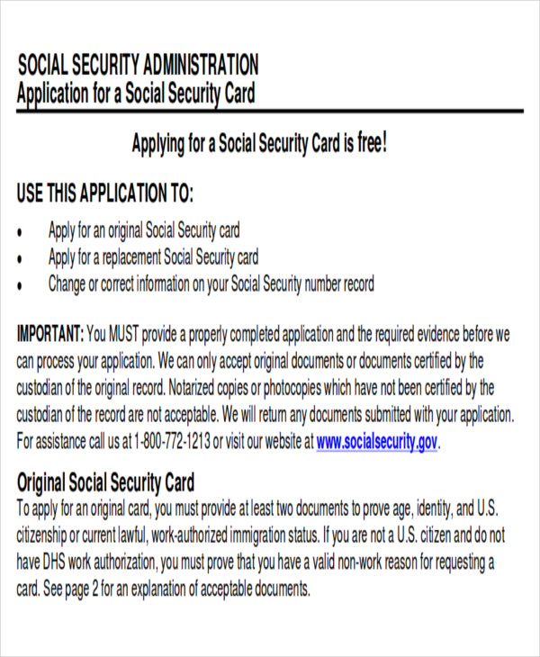 Replacement Social Security Card Application Form  InfocardCo