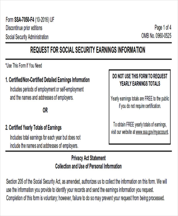 Sample Social Security Request Form   Examples In Word Pdf