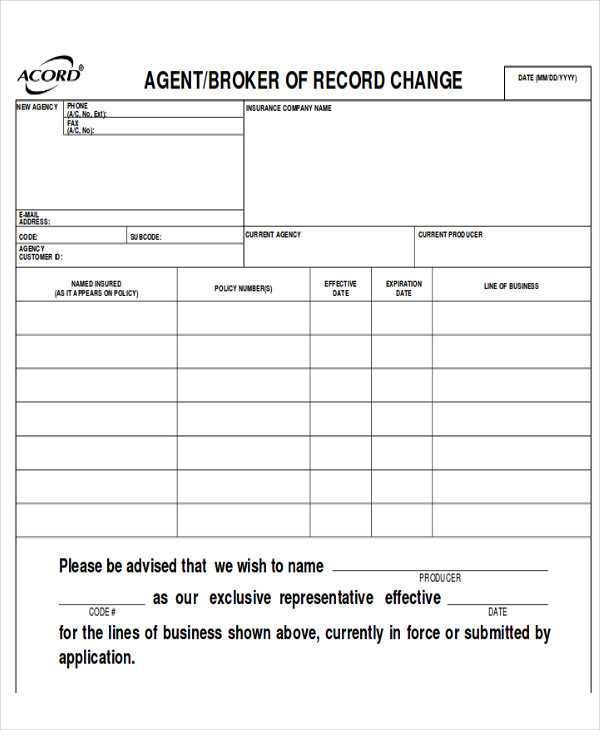 Acord Form Acord Cancellation Form Business Form Templates Acord