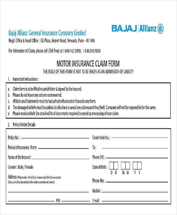 insurance release of claim form