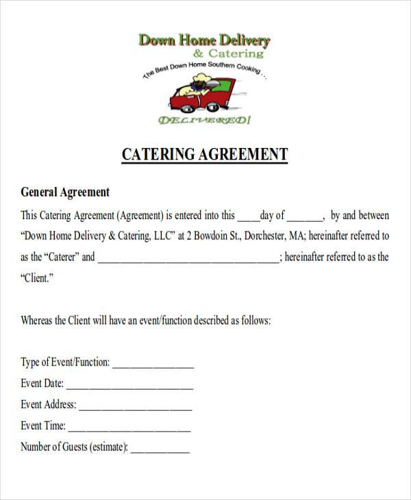 9  sample catering contract agreement templates