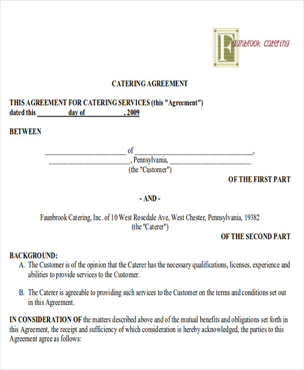 Sample Catering Contract Agreements - 8+ Examples in Word, PDF