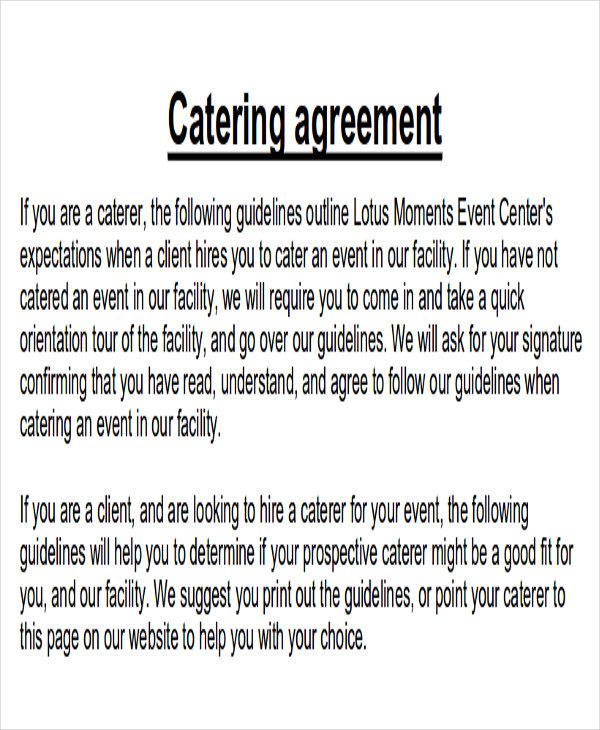 preferred catering contract agreement