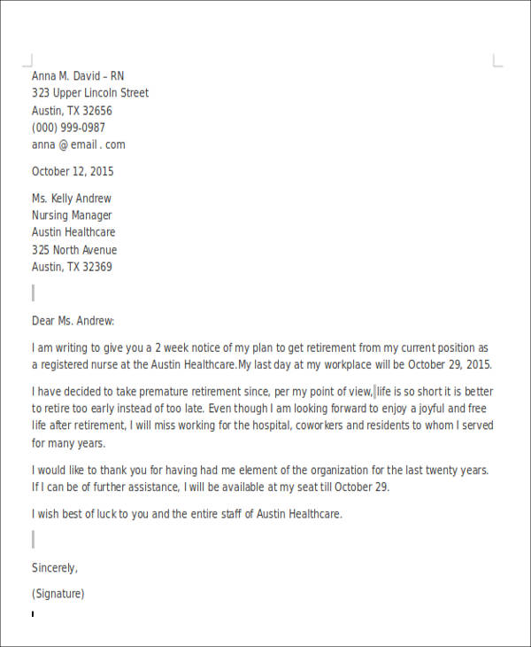 Retirement Resignation Letter For Nurse Example