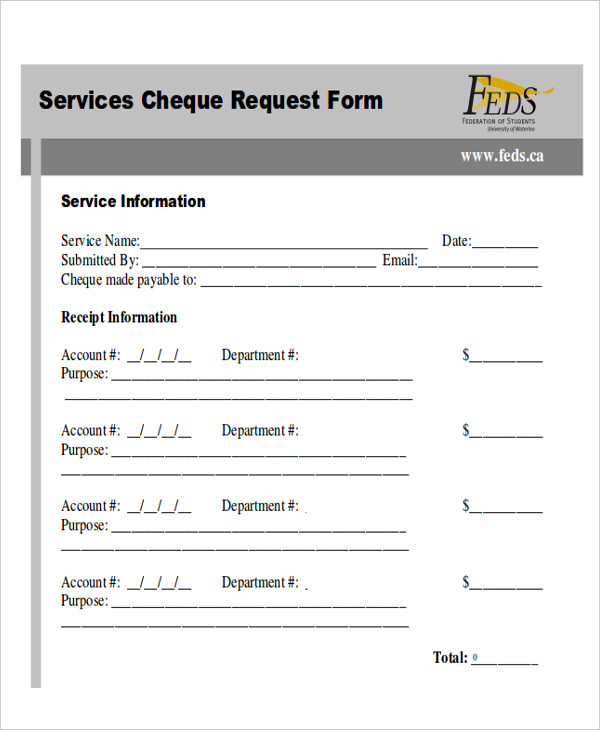 service cheque request form