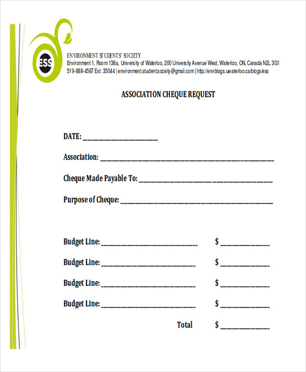 Sample Cheque Request Form   Examples In Word Pdf