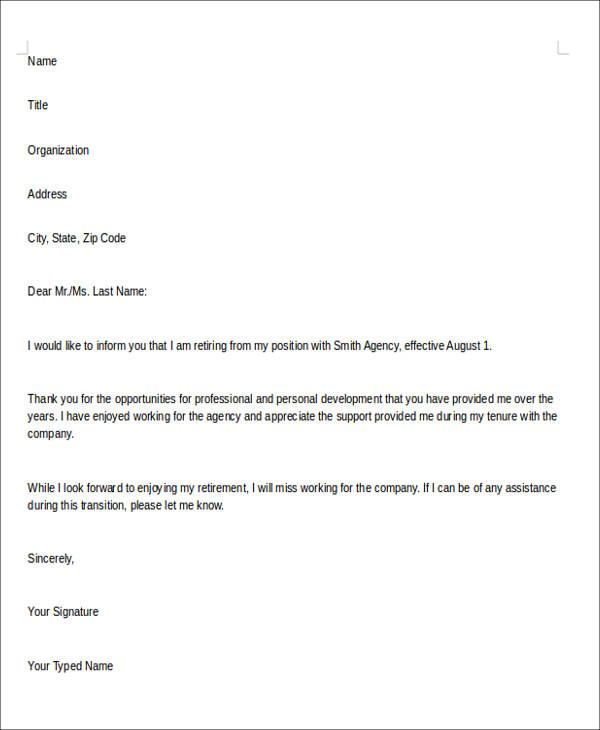 Sample Retirement Resignation Letter - 6+ Examples In Pdf, Word
