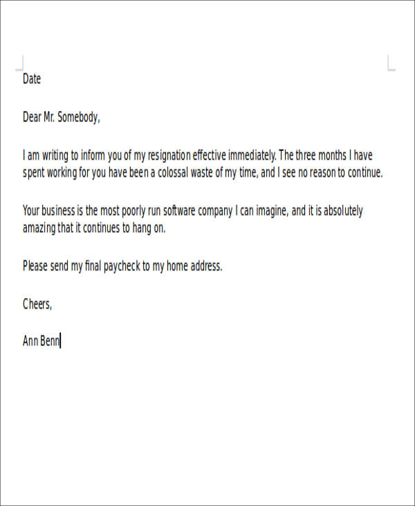 Sample Rude Resignation Letter Examples In Pdf