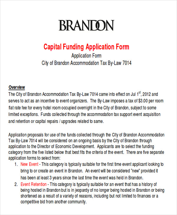 capital funding request form