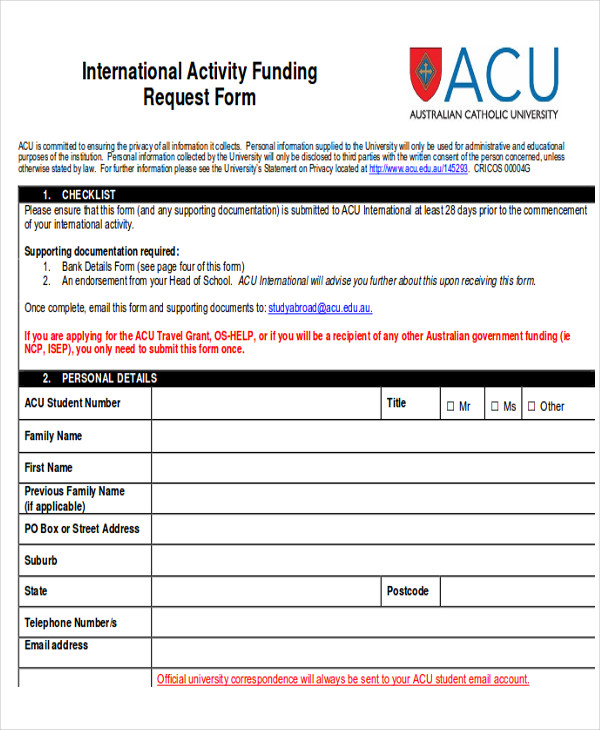 international acivity funding request form