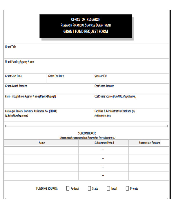 grant funding request form printable