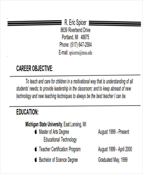 7+ Examples Of Career Objective - Examples In Word, Pdf